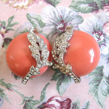 Vintage 1970s Coral Earrings Silver Rhinestone Leaf Clip On Earrings