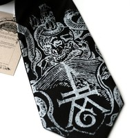 Ex Libris black silk tie, book imprint, antique skull print. Silkscreened necktie, silver screen print.