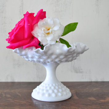 Vintage Milk Glass Hobnail Compote by Fenton, Candy Dish, English Hobnail, Ruffled Edge