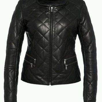 Women Black Handmade Diamond Quilted Real Leather Jacket