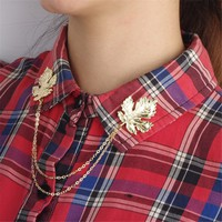 Retro Maple Leaf Collar Clip Chain Fashion Accessory