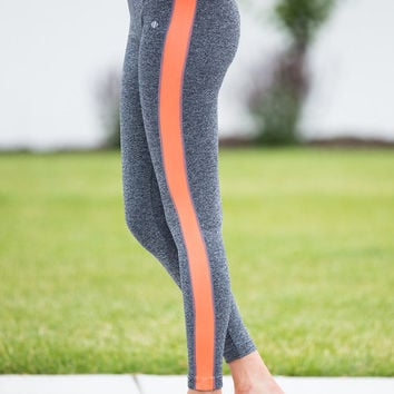 Yoga and Youth Leggings Gray/Neon Orange CLEARANCE