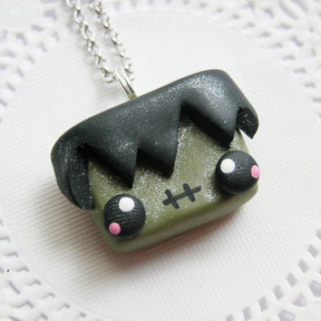 Halloween Necklace Kawaii Frankenstein Necklace Fimo Jewelry Polymer Clay Jewelry for Tweens Teens and Adults