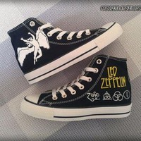 DCCK1IN led zeppelin custom converse painted shoes