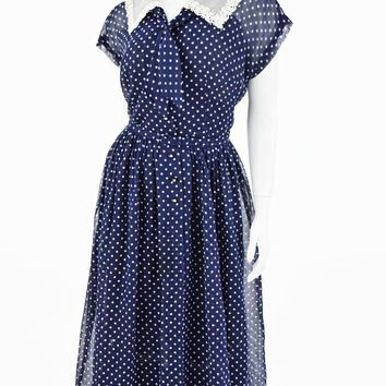 50s Semi Sheer Navy Polka Dot Shirtwaist Dress-XL
