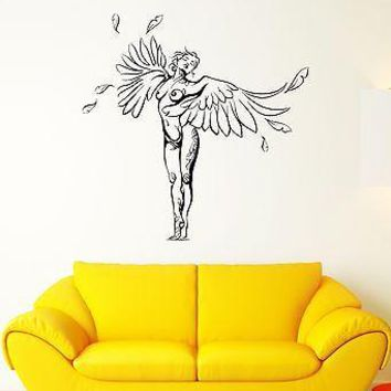 Wall Decal Sexy Girl Angel Wings Nude Tattoo Symbolism Vinyl Stickers Unique Gift (ed111)