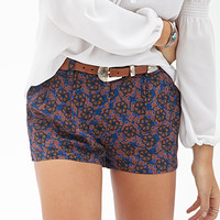 FOREVER 21 Pleated Floral Shorts Teal/Rust