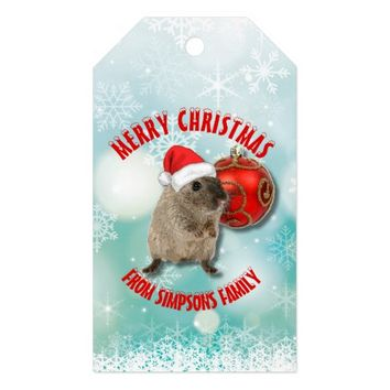 Christmas Funny Hamster Snowflakes Red Santa Hat Gift Tags