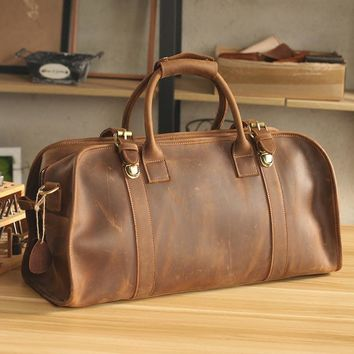 Luxury  Handmade Leather Travel Bags Vintage High Quality  Leather Travel Bag Overnight Bag Luggage Carry on Bag