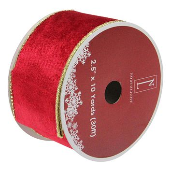 "Solid Bright Red Wired Christmas Craft Ribbon 2.5"" x 10 Yards"