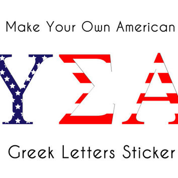 custom american flag greek letters sticker