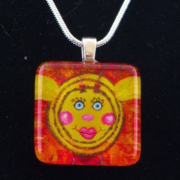 Bumble Bee Glass Tile Art Necklace Red Yellow Bee Whimsical Animal Jewelery