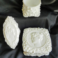 Fostoria Jenny Linda Vanity Set, Vintage Milk Glass Cameo Vanity Set, Cameo Milk Glass Square Box, Floral White Trinket Dish Fostoria White