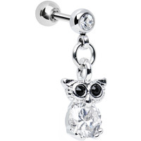 Clear Cubic Zirconia Enlightened Owl Dangle Tragus Cartilage Earring | Body Candy Body Jewelry