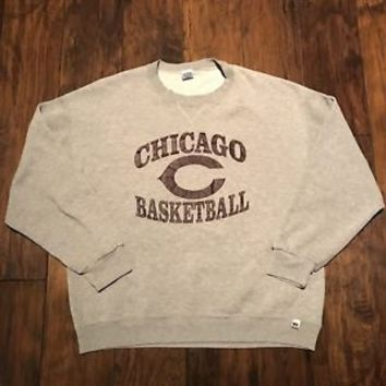 Vintage 90s Russell Athletic Chicago Basketball Gray Crewneck Sweatshirt Mens XL