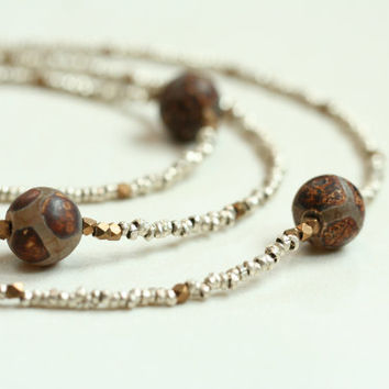 boho rustic chic extra long bead necklace earthy necklace / brown silver bronze / caramel agate necklace / minimalist geometric african