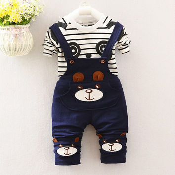 2016 spring male \ female cartoon baby clothing gentleman straps two stripes boy clothes suit spring bear boy group1-2-3-4 year