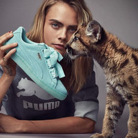 PUMA Women Casual Running Sport Shoes Sneakers bowknot Candy Color blue