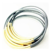 Bracelets-Bangles, Grey Leather with Gold or Silver Tube Accents