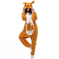 Itopfox Adult Animal Pajamas - Kangaroo One Piece Plush Cosplay Onsies Sleepwear(Plush Toy Included)