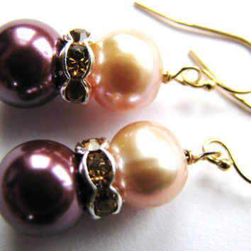 ON SALE, Plum Pearl Earrings, Lilac Pearl Earrings, Champagne Crystals, 14k Gold Filled Earrings, Bridal, Weddings