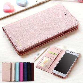 Fashion Silk Leather Wallet Case for iPhone X/8/8 Plus/7/7 Plus/6s/6s Plus/6/6 Plus Flip Cover Wallet Stand Case Card Holder Fol