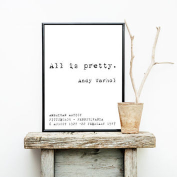 "Andy Warhol ""All is pretty"" Print Wall Art 