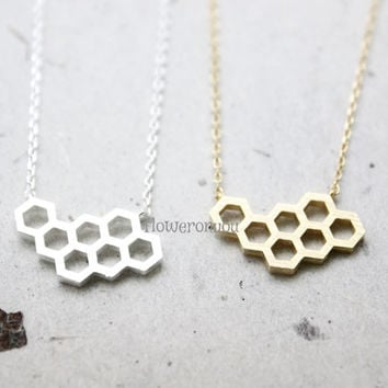 Honey Comb Necklace,  Honeycomb neclace, Beehive necklace ,geometric jewelry