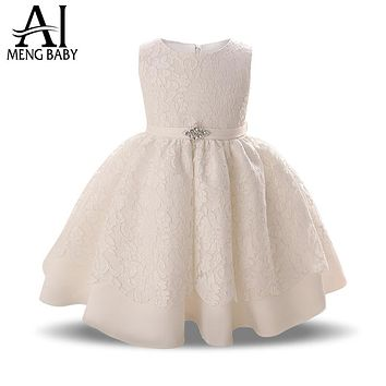 White Kids Dresses For Girls Wedding Party Little Girl Gift Lace Infant Princess Baptism Dress Baby Clothing