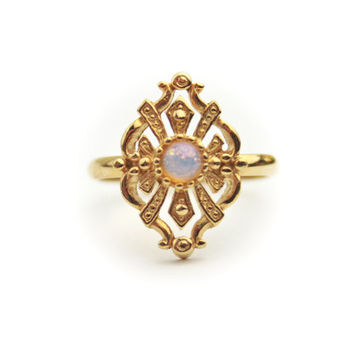 Simulated Opal Ring / Gold Tone Metal / Signed Avon