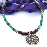 Thai Flower Pendant Necklace with Turquoise, Red Hematite Czech Beads Artisan Handmade Jewelry
