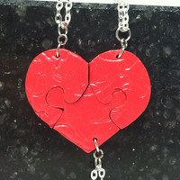 Heart Shaped Puzzle Necklaces Set of 3 by GirlwithaFrogTattoo