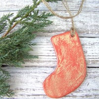Red hanging mini Christmas Stocking. Christmas decoration. Home decor. Air dry clay. Rustic decoration.
