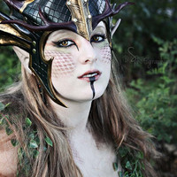 Forest Dragon Queen Crown, larp, leather, green, gold, fantasy, medieval, mask