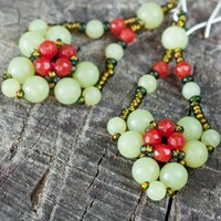 Handmade Beaded Red and Green Jade Earrings