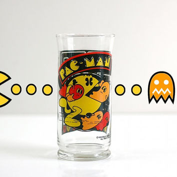 Vintage 1982 Pac Man Collectible Drinking Glass Tumbler