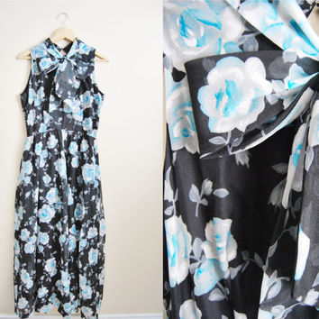 Blue Lilly. Vintage 70s Maxi Dress Chiffon Lightweight Big Bow Spring Dress