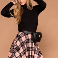 Britney Plaid Skater Skirt - Pink