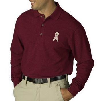 Breast Cancer Pink Ribbon Embroidered Men's Shirt Polo Shirt from Zazzle.com