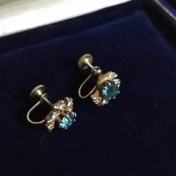 Antique EdwardianVintage Gold Filled Blue White Stones Screw Back Evening Special All Occasion Faceted Prong Set Stone earrings