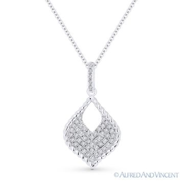 0.22 ct Round Cut Diamond Pave 14k White Gold Marquise Pendant   41161414ba76