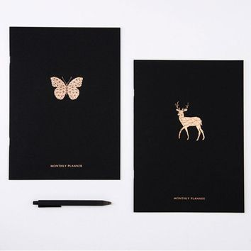 2018 Year Calendar Monthly Plan Notebook Elegant Black Gilded Printed Animal Decoration Organizer Agenda Diary Planner Book A4