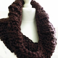 Chunky knit cowl, aubergine snood muffler in acrylic yarn, UK shop