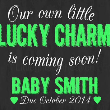 Chalkboard Pregnancy Announcement- st patricks day, announce pregnancy, we're expecting sign, pregnancy photo prop, lucky charm print