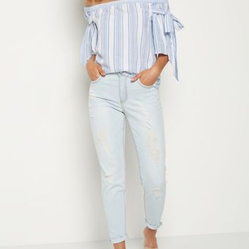 Light Blue Distressed High Rise Skinny in Curvy
