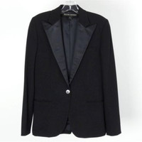 Ralph Lauren Black Label Women's Black Wool Tuxedo Blazer Jacket Size 8