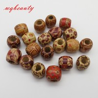 20pcs/pack Wooden Big Hole Hair Braid Dread Dreadlock Beads Rings Tubes For Braiding Hair Extension Accessories