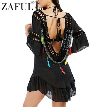 ZAFUL Women Sexy Flounce Open Back Fringe Cover Up Tunic Tassel Beach Cover Up Swimwear Summer Bikini Cover Up Swim Beach Dress