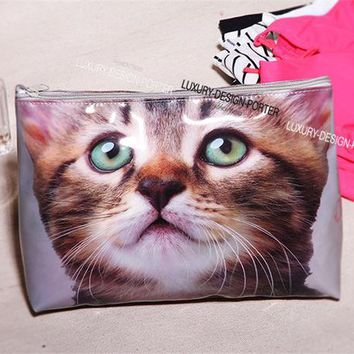 DCCKJG2 Designer Large Vivid Cat waterproof PVC Toiletry Bag Travel Organizer Cosmetic Bag