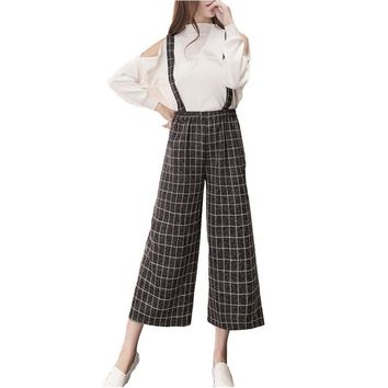 Women Spring Strap Wide Leg Pants 2017 Fashion Loose Bell Bottom Plaid Pant Ladies Office Solid Black High Waist Trousers S-XL